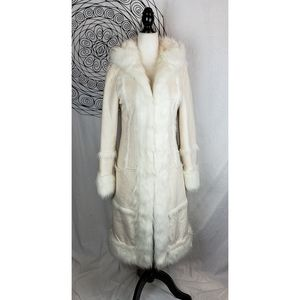 MARCIANO Faux Suede & Fur 3/4 Length Hooded Coat